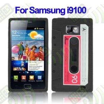 Funda Silicona Samsung Galaxy S2 i9100 Cassette Negra
