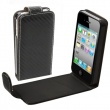 Funda Solapa iPhone 4/4S Negra Fibra de carbono