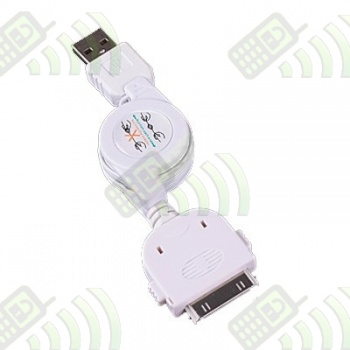 Cable enrollable USB para Iphone Ipod Ipad Blanco 76 cm