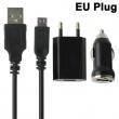 Cargador de Red y Coche USB 3 en 1 Micro USB Negro 1A