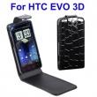 Funda Solapa HTC Evo 3D Negra Piel Cocodrilo